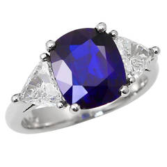 Royal Blue No Heat Burma Sapphire Platinum Engagement Ring