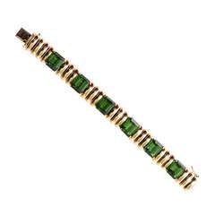 Green Tourmaline and Gold Bracelet