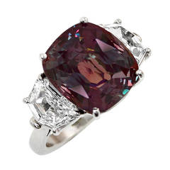 Exceptional 11 Carat Alexandrite Diamond Platinum Ring