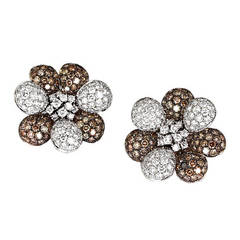 Champagne and White Diamond Gold Flower Earrings