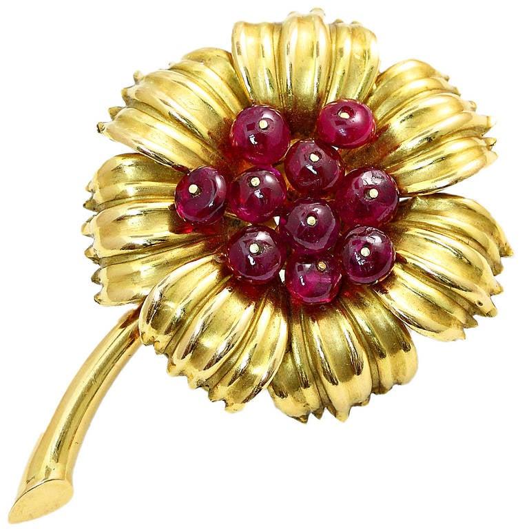 Cartier Natural Burma Ruby Gold Flower Pin