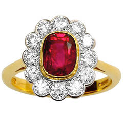 1.96 Carat Natural Burma No Heat Ruby Diamond Gold Platinum Cluster Ring