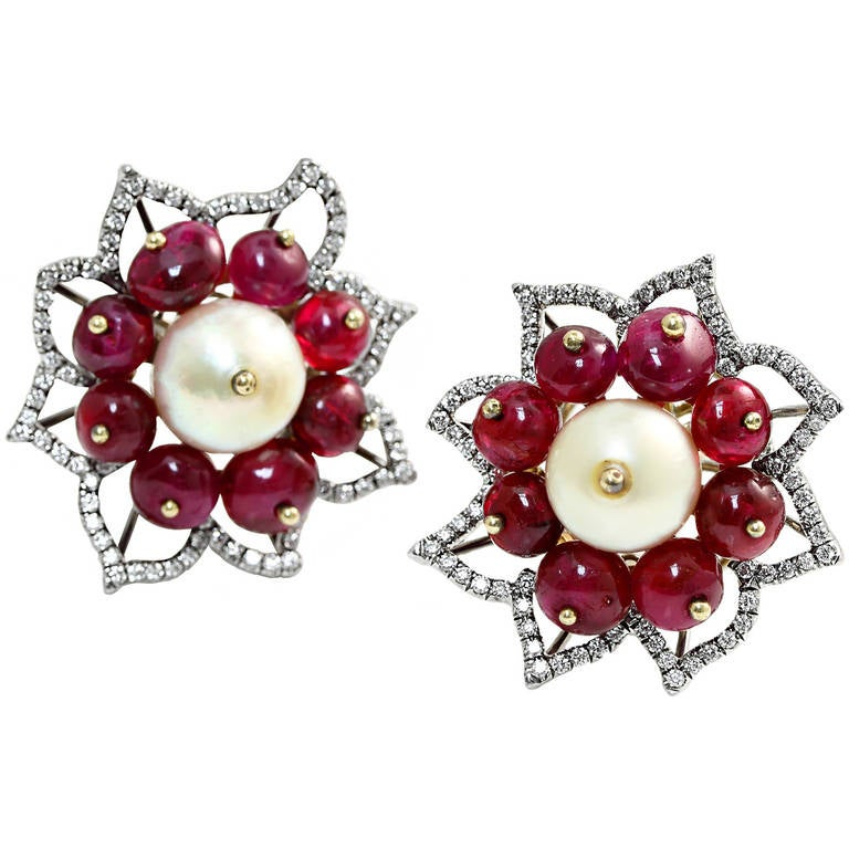Natural Saltwater Pearl and No Heat Ruby Floral Earrings For Sale