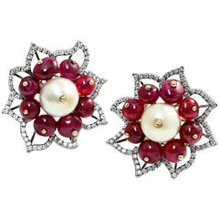 Natural Saltwater Pearl and No Heat Ruby Floral Earrings