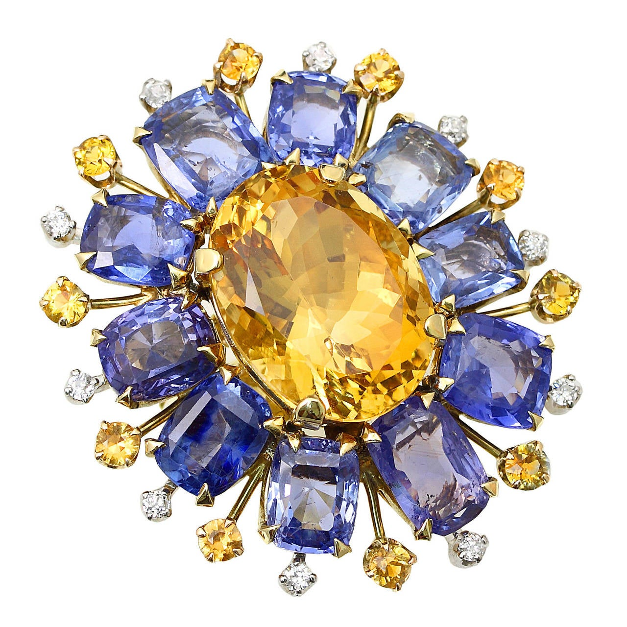 Retro Citrine Sapphire Diamond Gold Floral Ring