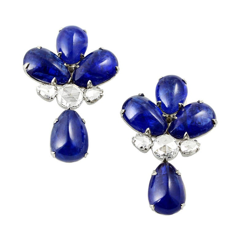Burma No Heat Sapphire Diamond Earrings