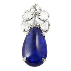 Burma No Heat Sapphire Diamond Pendant