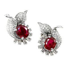No Heat Burma Ruby and Diamond Earrings