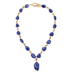 No Heat Large Sapphire gold Bead Necklace