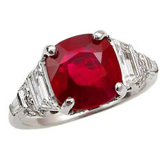No Heat Burma Ruby Diamond Platinum Engagement Ring
