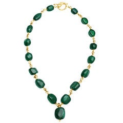 Baroque Emerald Gold Link Necklace
