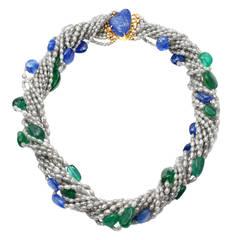 Sapphire Emerald Diamond Collier Torsade Necklace