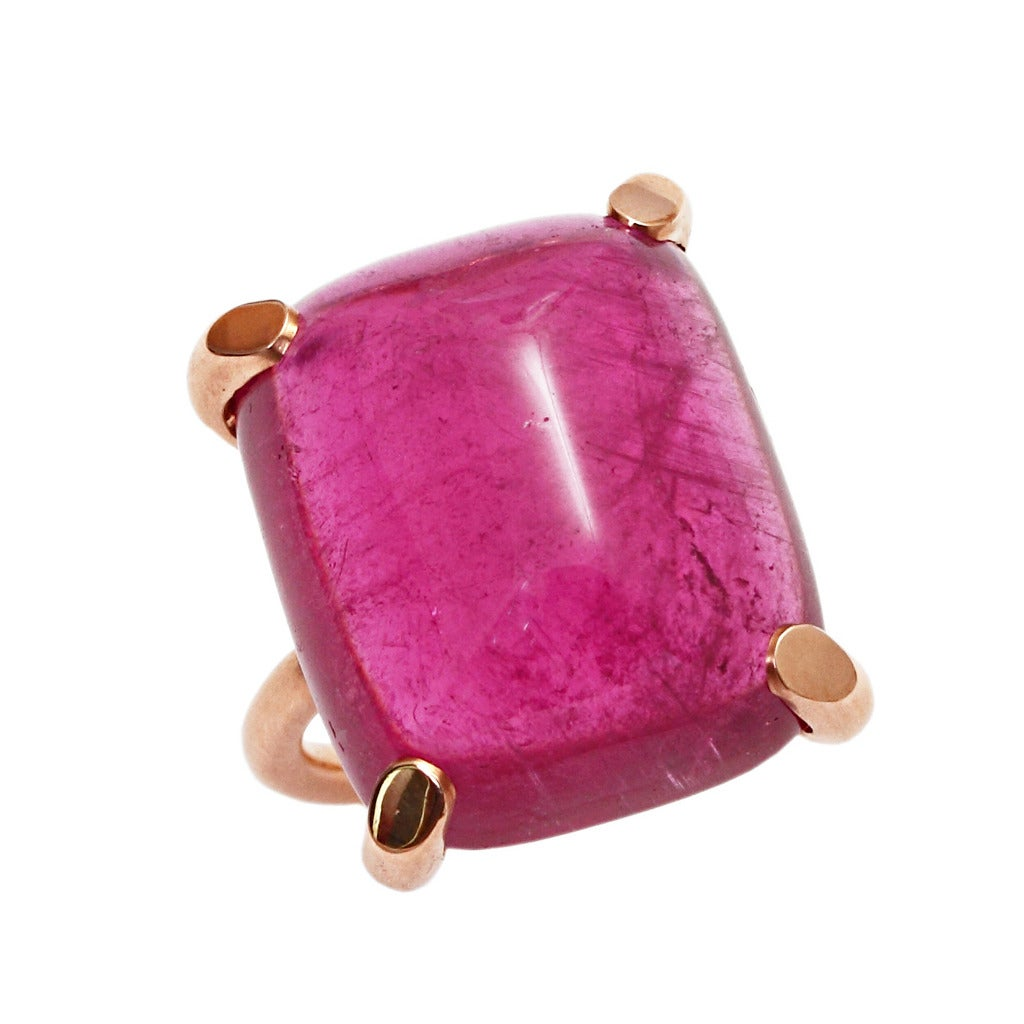 Pink Tourmaline Sugarloaf Cabochon Gold Ring 1