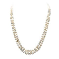 A Two Row Natural Saltwater Pearl Necklace