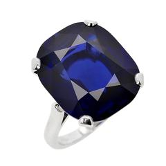 23 Carat Natural No Heat Burma Sapphire Platinum Ring