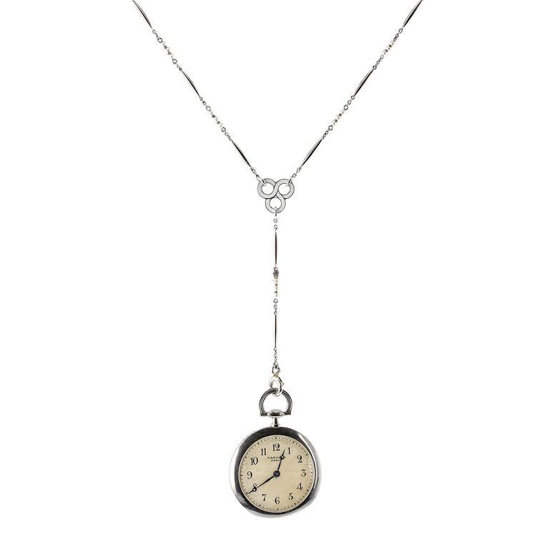 Cartier Platinum Seed Pearl Enamel pocket Watch Pendant Necklace, 1920s