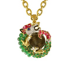 David Webb Gemstone and Diamond Dragon Pendant Necklace