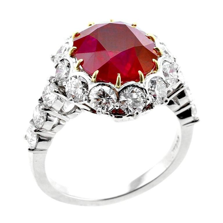 Cushion Cut Garrard London 5 Carat Pigeon's Blood Burma Ruby Diamond Cluster Platinum Ring For Sale