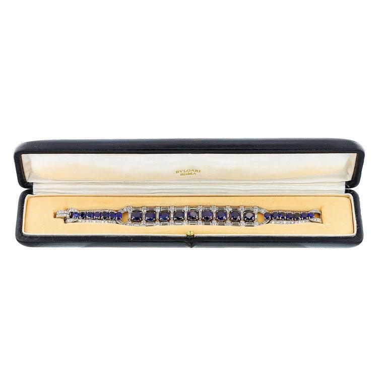 Art Deco Bulgari No Heat Burma Sapphire and Diamond Platinum Bracelet In Good Condition For Sale In New York, NY