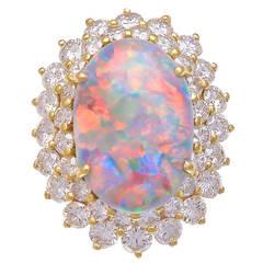 Cabochon Natural Opal Diamond Gold Ring