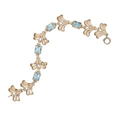 Retro Tiffany & Co. Aquamarine and Rose Gold Bracelet