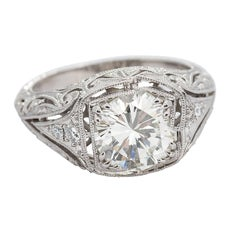 1.99 Carat Round Transitional Cut Diamond Platinum Ring
