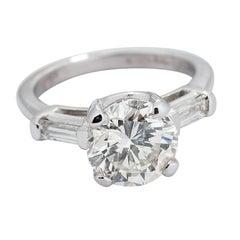 3.11 Carat Round Brilliant Diamond and Baguette Diamond Platinum Ring