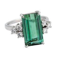 4.02 Carat Green Tourmaline and Diamond Platinum Ring