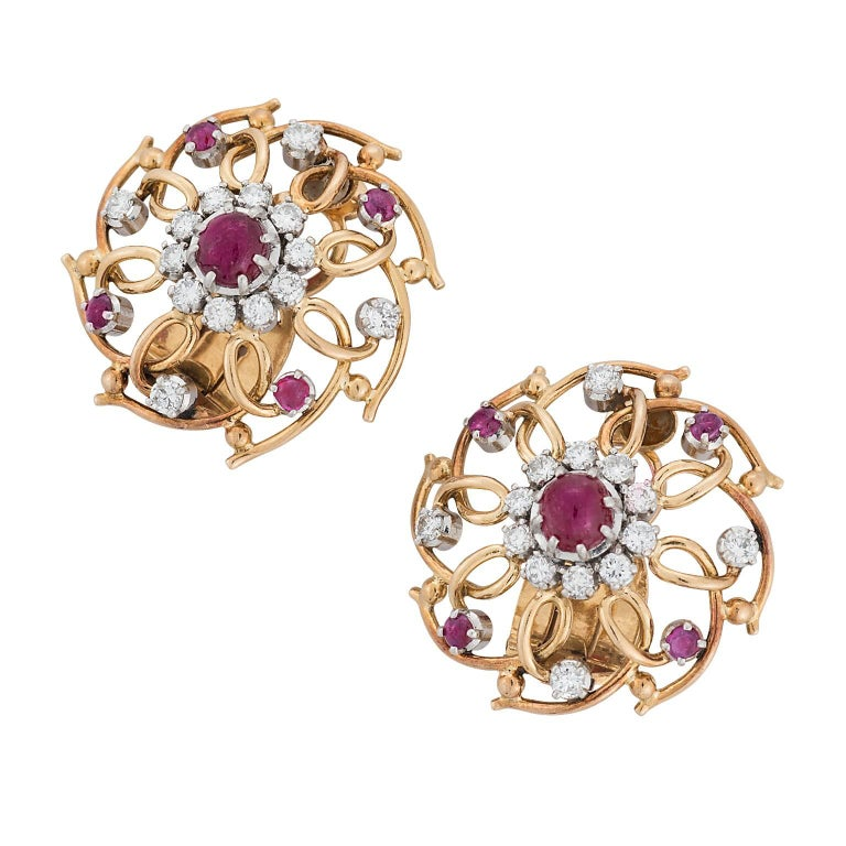 Cabochon Ruby and Diamond Yellow Gold Clip Earrings For Sale
