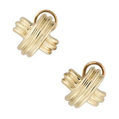 """Tiffany & Co. Vintage Yellow Gold Domed """"X"""" Earrings"""