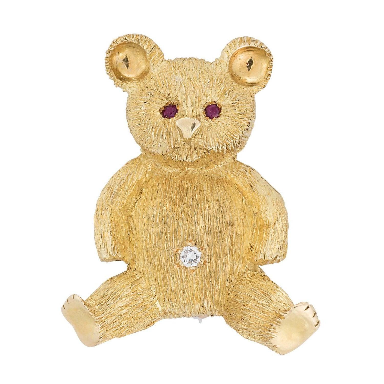 Lederman Yellow Gold Teddy Bear Brooch For Sale at 1stdibs