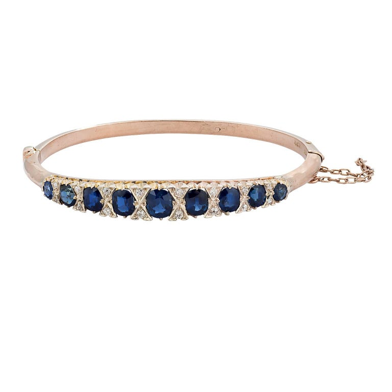 Victorian Natural Sapphire and Diamond Yellow Gold Bangle Bracelet
