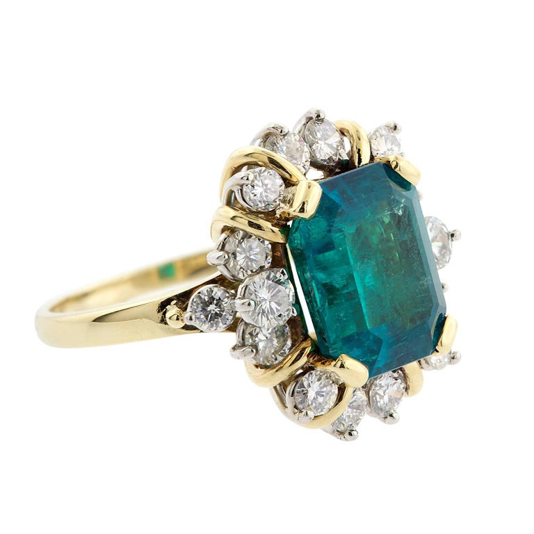 4.21 Carat Emerald Cut Natural Colombian Emerald and Diamond Gold Ring