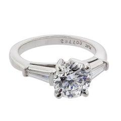 2.00 Carat Round Brilliant Diamond and .30 Carat Tapered Baguette Platinum Ring