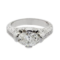 1.56 Carat G/VS2 Oval Diamond Platinum Ring