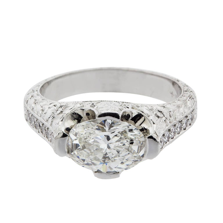 1.56 Carat G/VS2 Oval Diamond Platinum Ring
