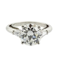3.36 Carat Old European Cut Diamond and Tapered Baguette Platinum Ring