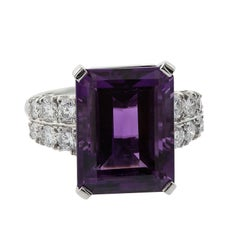 10.54 Carat Emerald Cut Amethyst and Diamond Platinum Ring