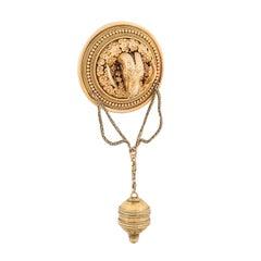 Ernesto Pierret Victorian Era 18 Karat Gold Ram's Head Brooch