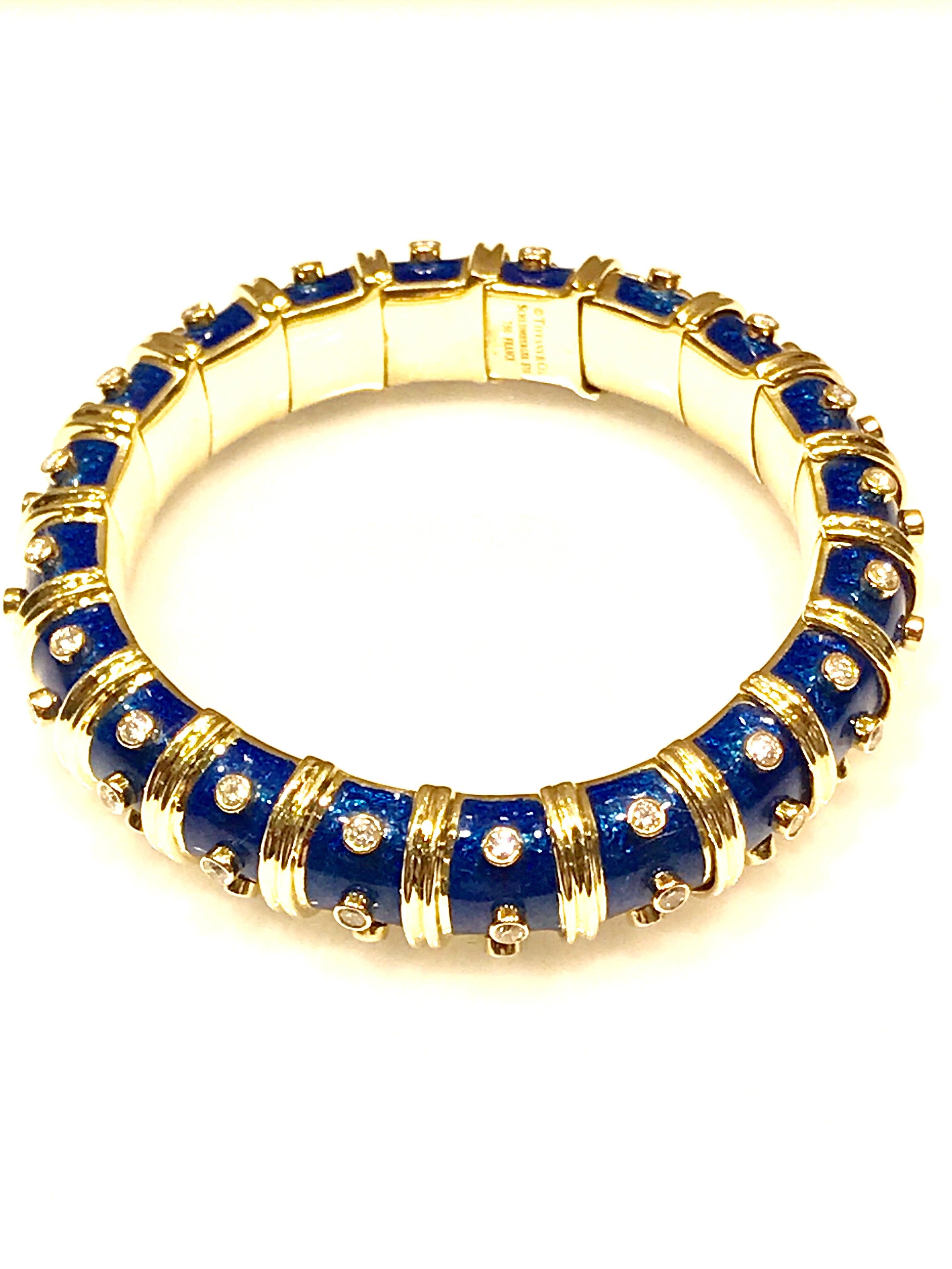 6f31055a4 Tiffany and Co. Schlumberger Blue Enamel and Bezel Set Diamond Bangle  Bracelet at 1stdibs