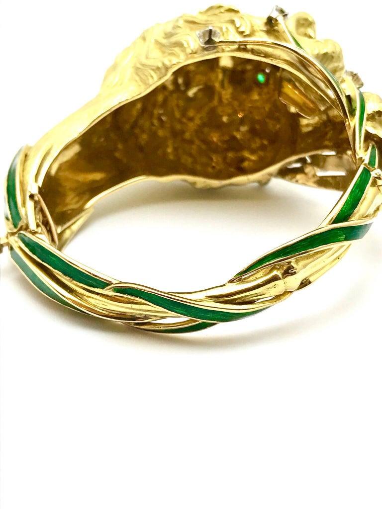 Diamond and Enamel Yellow Gold Lion Bangle Bracelet For Sale 2