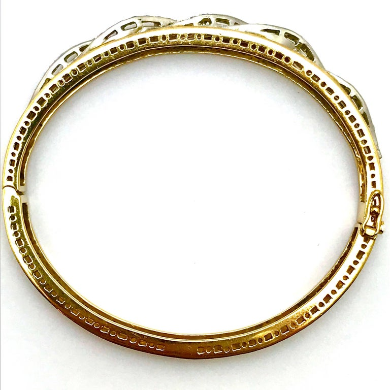 Retro Round Brilliant Diamond White and Yellow Gold Wave Bangle Bracelet For Sale