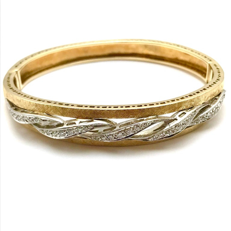 Round Cut Round Brilliant Diamond White and Yellow Gold Wave Bangle Bracelet For Sale