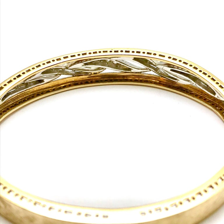 Women's or Men's Round Brilliant Diamond White and Yellow Gold Wave Bangle Bracelet For Sale