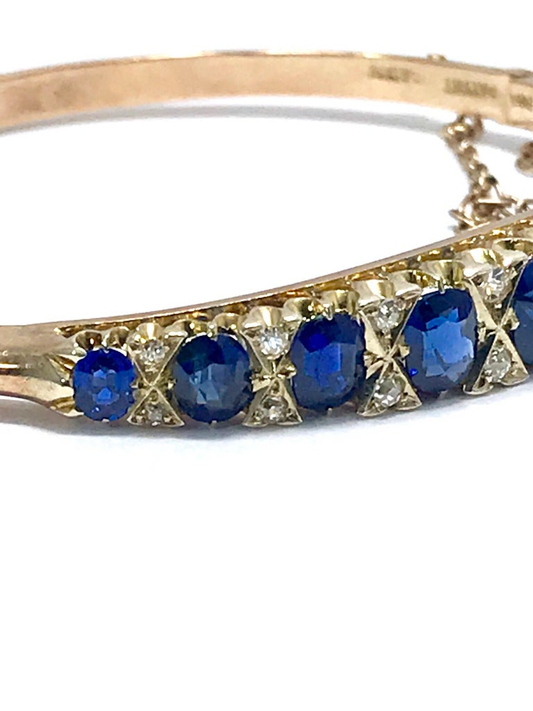 Women's Victorian Natural Sapphire and Diamond Yellow Gold Bangle Bracelet For Sale