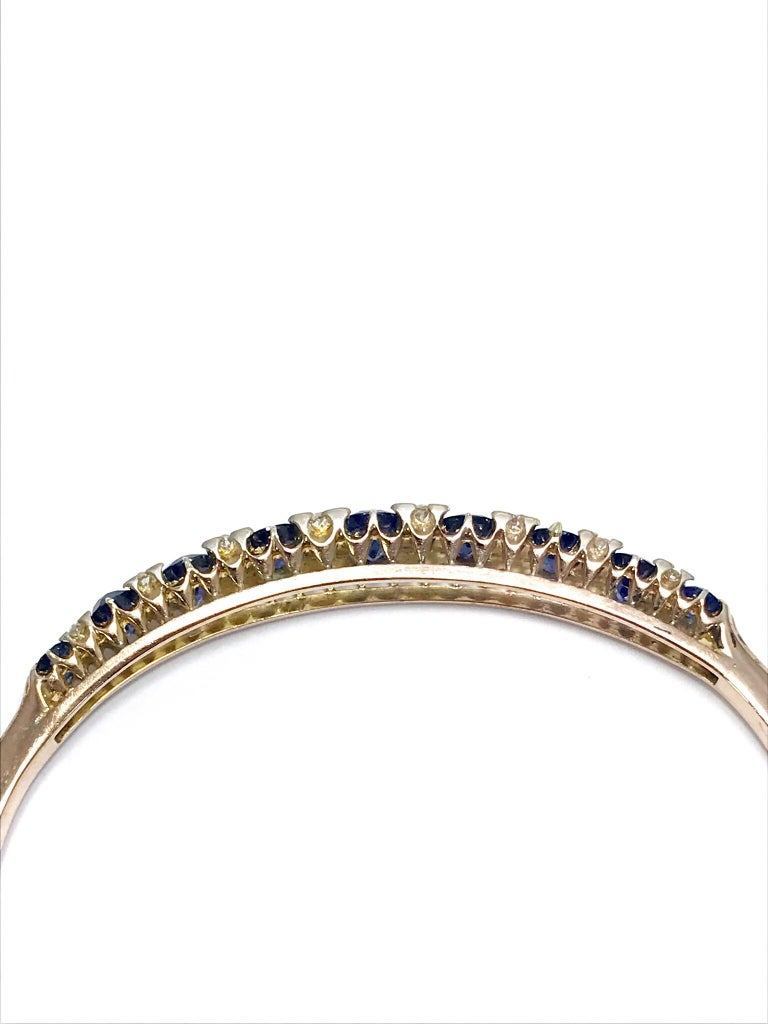 Victorian Natural Sapphire and Diamond Yellow Gold Bangle Bracelet For Sale 1