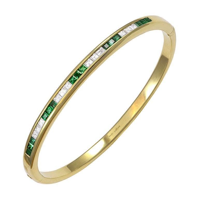 Emerald Diamond Gold Bangle Bracelet For