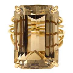 Large Smokey Quartz Gold Ring