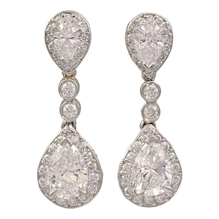 Diamond and Platinum Drop Earrings 1
