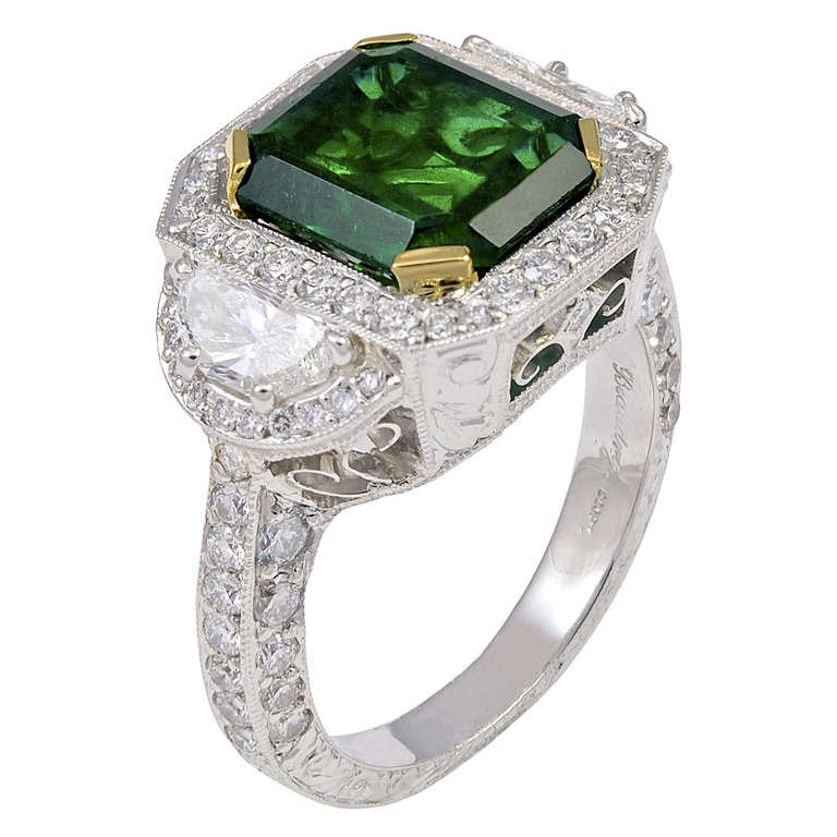 3 77 carat stunning emerald platinum ring at 1stdibs